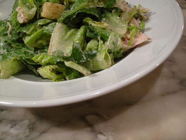 A simple Chicken Caesar Salad.