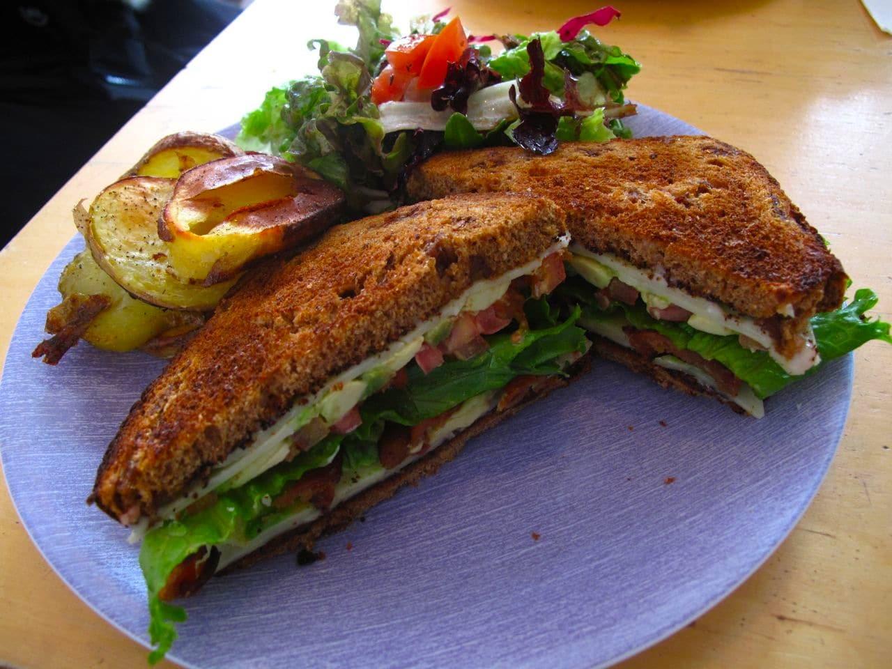 A hearty breakfast sandwich.