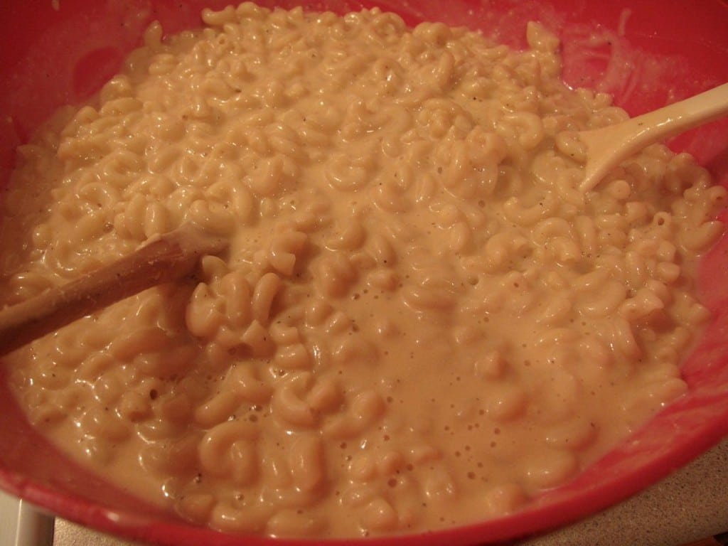 The macaroni and cheese should be very wet, almost soupy.