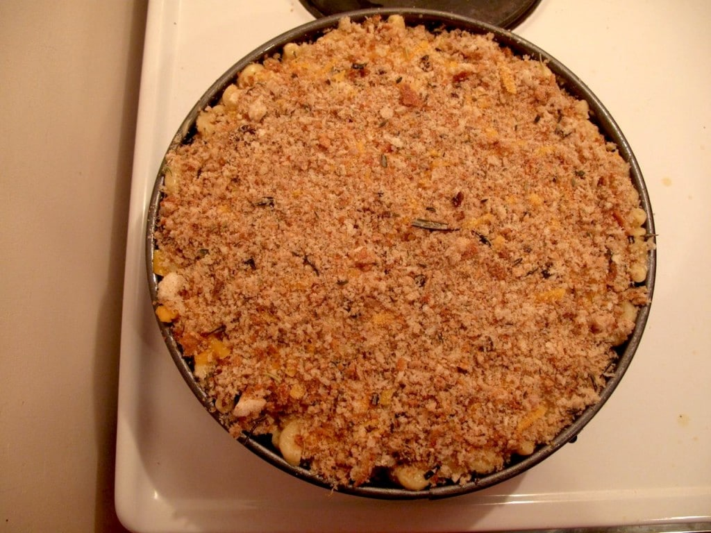 Final Step: top pulled pork mac and cheese with breadcrumbs.