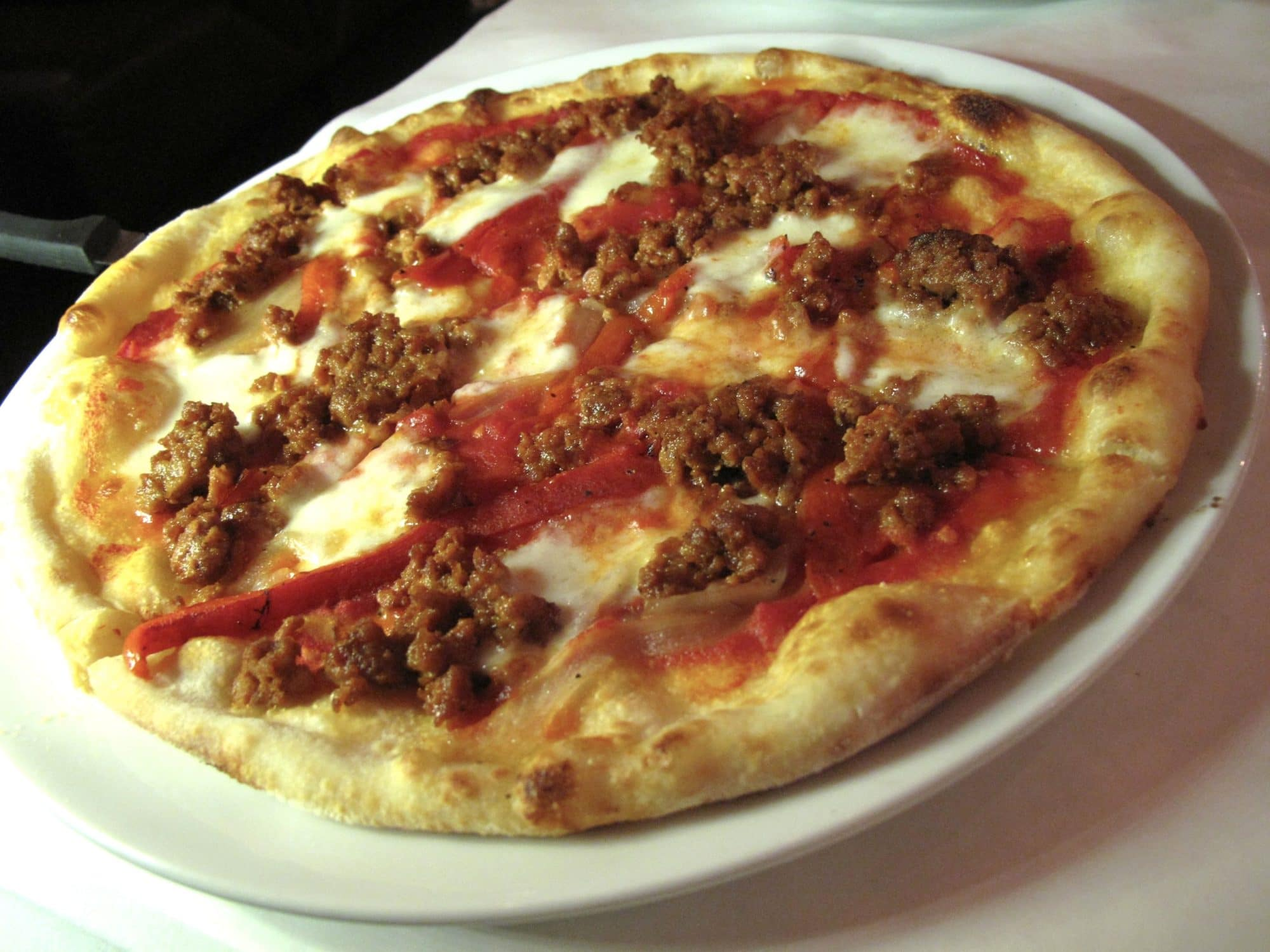 Spicy meat topped pizza at Il Fornello Danforth.