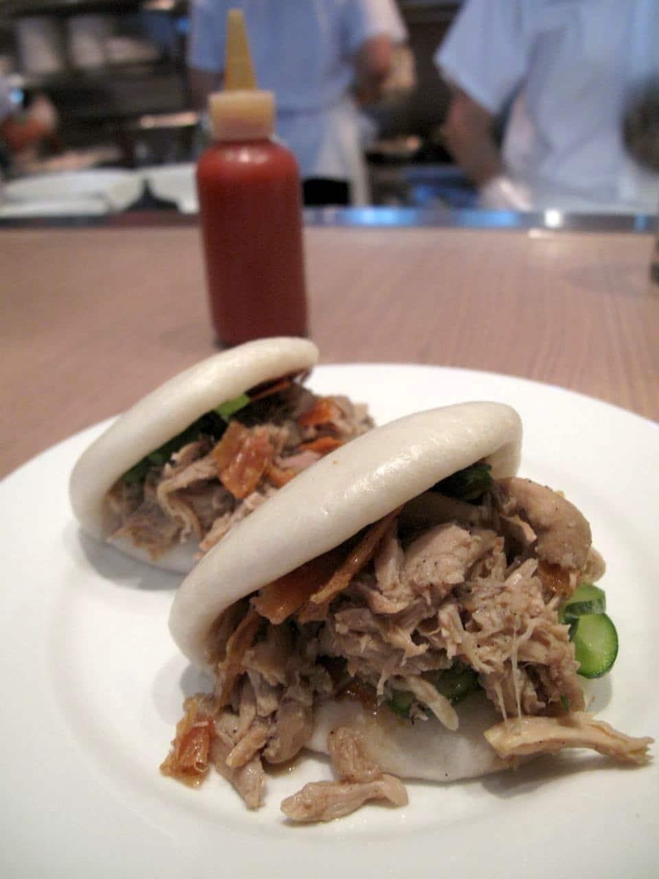 Momofuku Noodle Bar Toronto: Chicken Bun with hoisin, scallion, cucumber