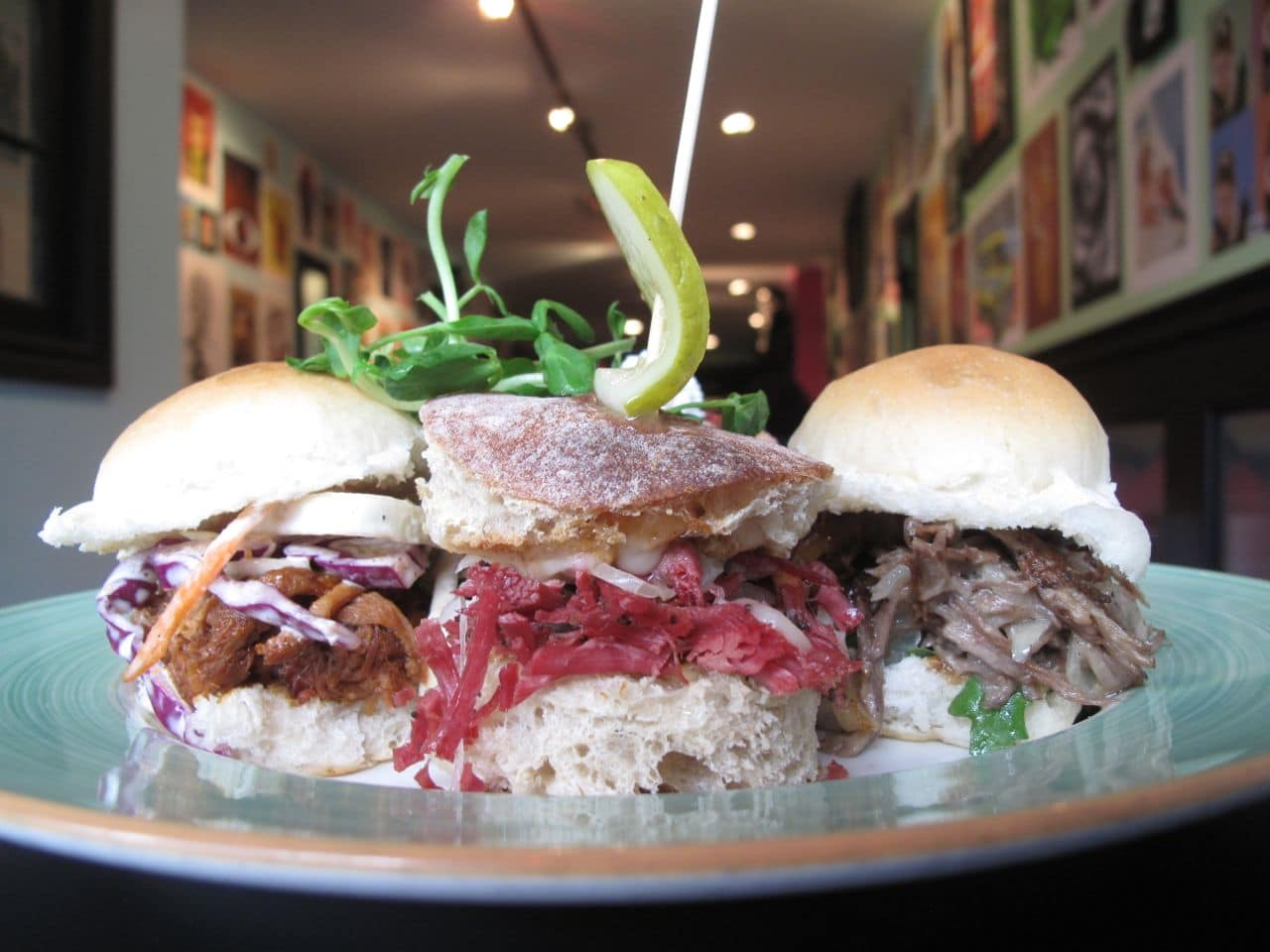 Slider Sampler at The Early Bird London featuring braised duck, smoked meat and pulled pork.