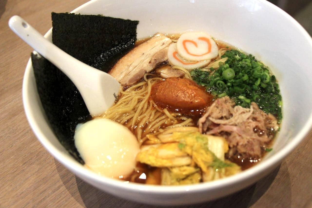 Momofuku Ramen with pork belly and shoulder, fish cake, egg