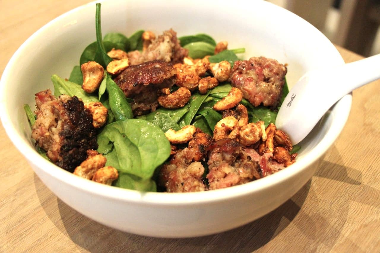Chilled Spicy Noodles with sichuan sausage, spinach, cashews, beans