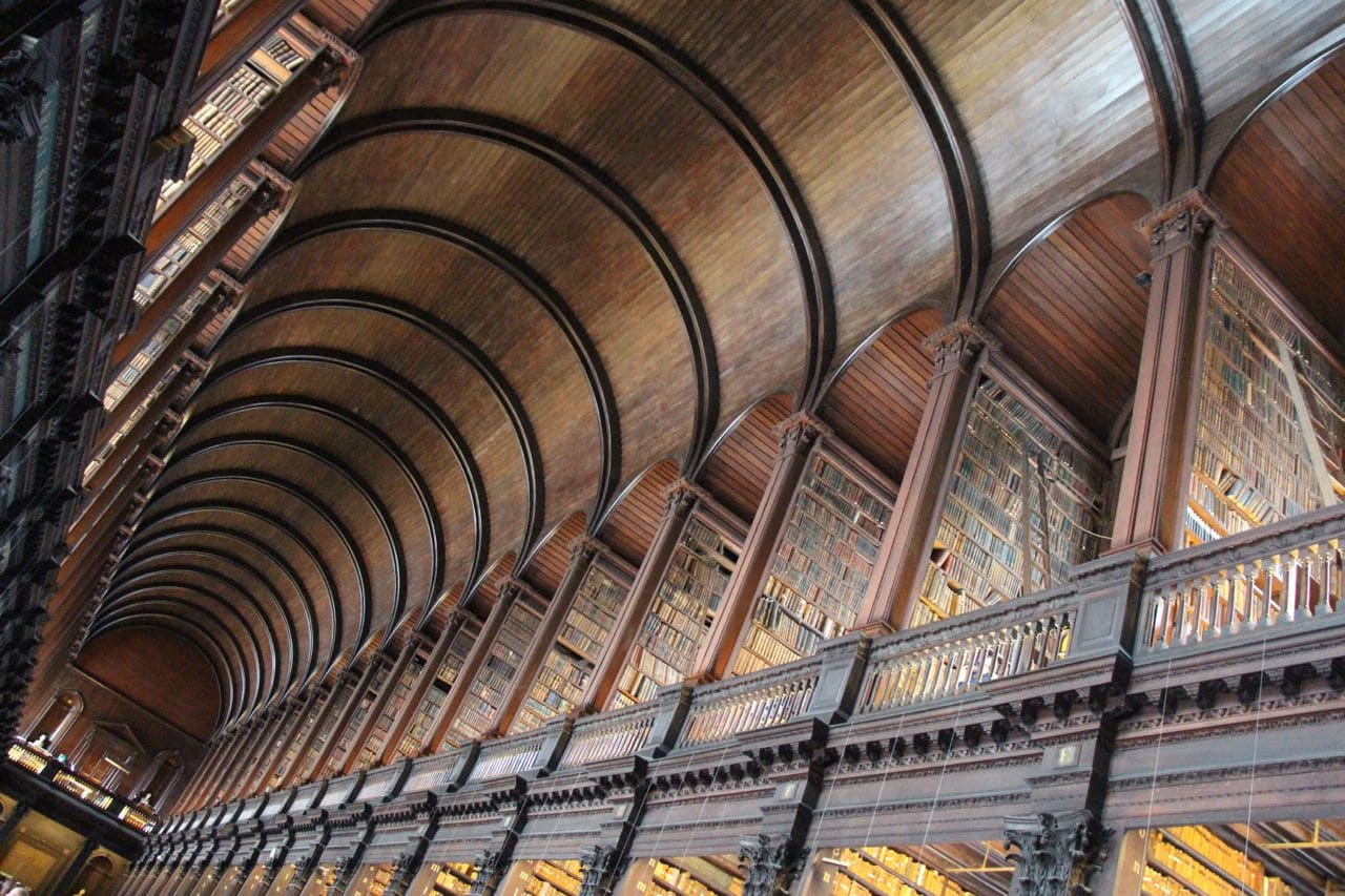 Stroll through Dublin's iconic Trinity College Library.