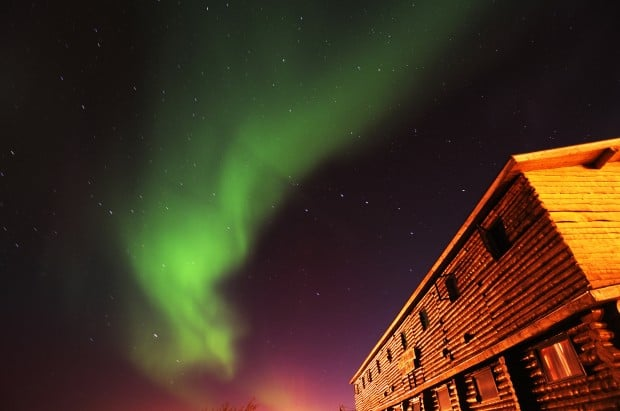 summer aurora borealis and lodge