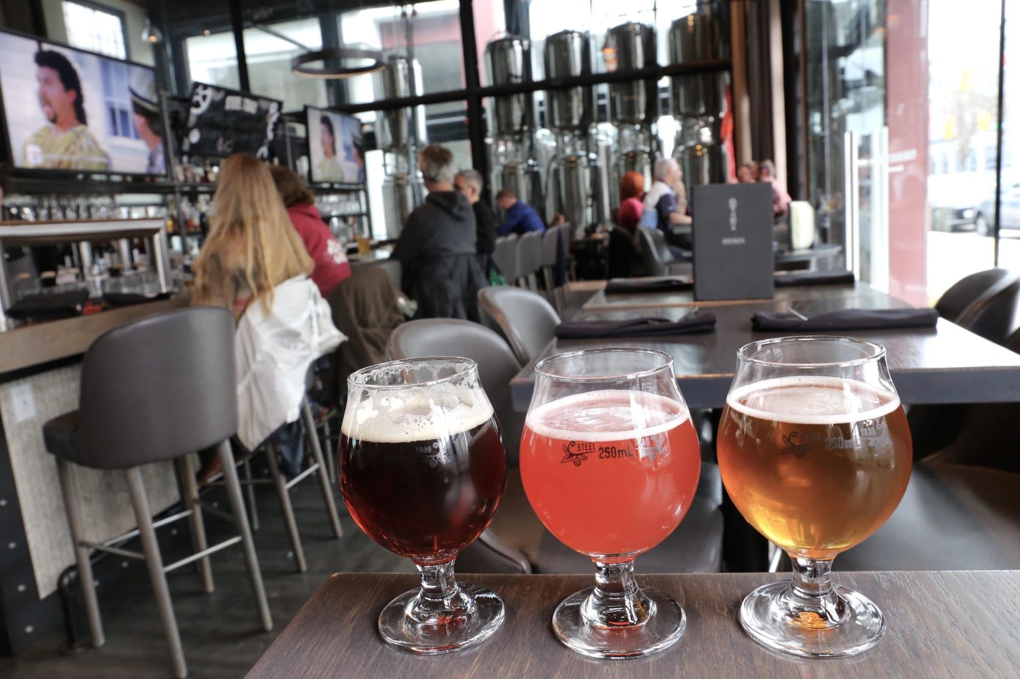 Steel Toad Brewery serves craft beer in a spacious dining room.
