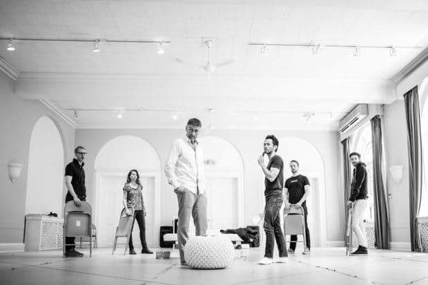 Full Cast (l-r Jonathan Seinen, Diane Flacks, Geordie Johnson, Aldrin Bundoc, Craig Pike, Cole Alvis)_Body Politic_Photo by Dahlia Katz