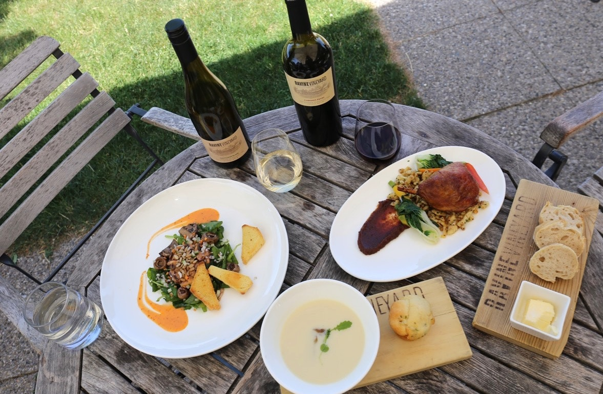 Finish your Niagara on the Lake winery cycle tour at Ravine Vineyard's restaurant.
