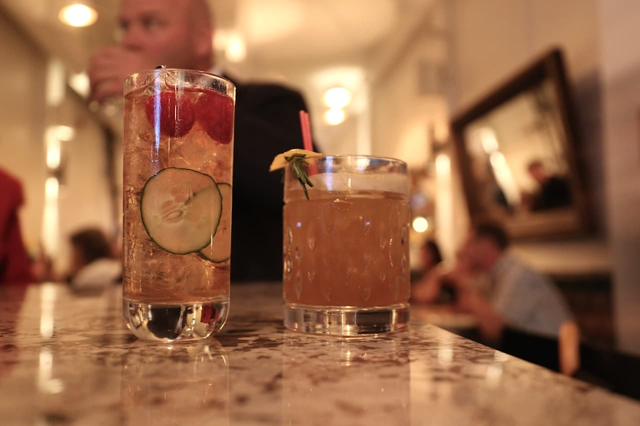 Craft cocktails at Nodo Junction's bar.