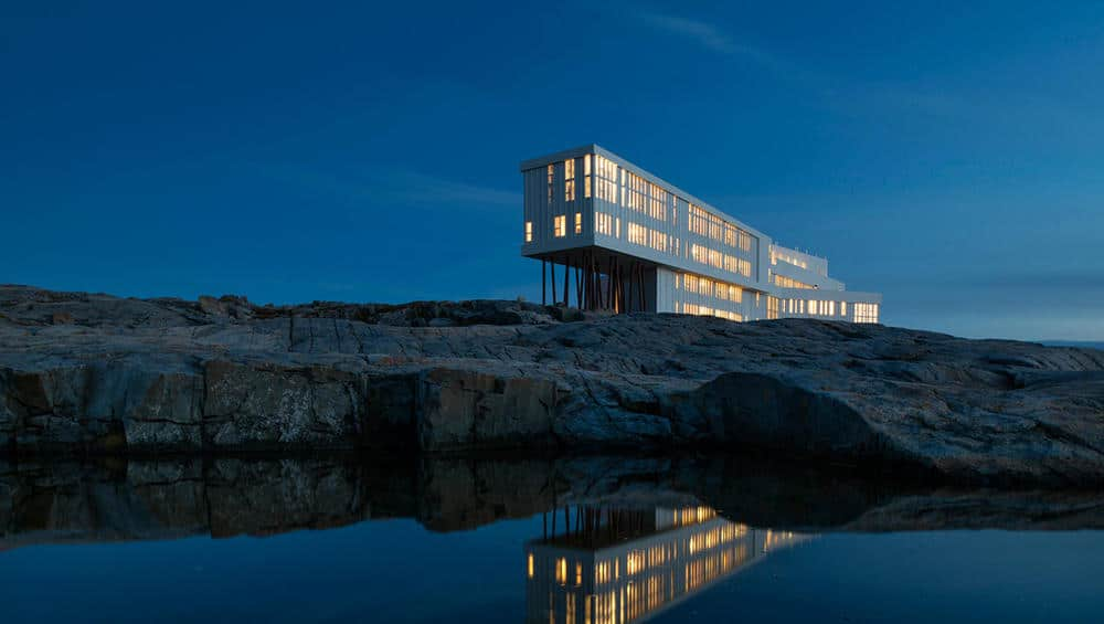 Fogo Island Inn at night