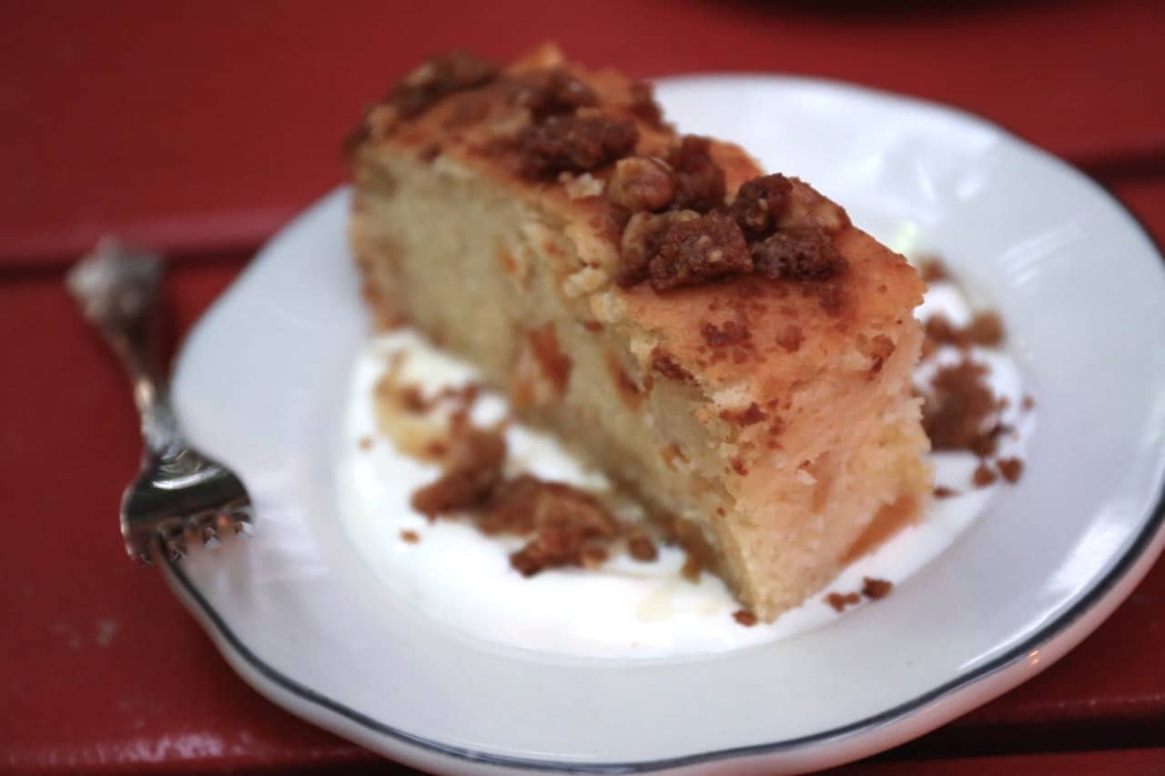 Apricot Sour Cream Cake with Walnut Strudel at Tennessee Tavern Toronto.