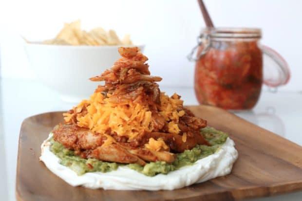 Korean Ssamjang Chicken and Kimchi Nachos