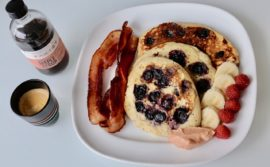 Banana Berry Buttermilk Pancakes with Cranberry Rhubarb Curd - 1