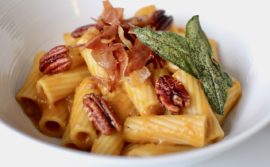 Rigatoni with Fried Sage, Candied Pecans, and Pumpkin Velouté - 1