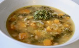Kale, Leek, Bean, Orzo and Pumpkin Soup with Pecan Pesto - 1