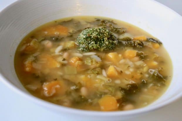 Kale, Leek, Bean, Orzo and Pumpkin Soup with Pecan Pesto