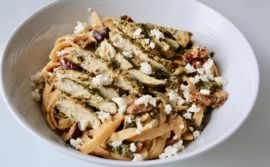 Creamy Mediterranean Hummus Pasta with Pesto Chicken - 1