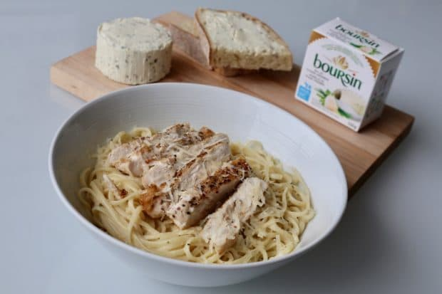 Garlic Boursin and Lemon Linguini with Grilled Chicken and Gruyere Recipe