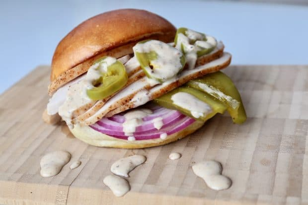 White BBQ Turkey Sandwiches with Jalapeno and Pickles