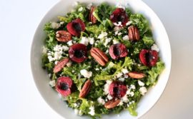Cherry Pecan Kale Salad with Honey Lime Vinaigrette - 1