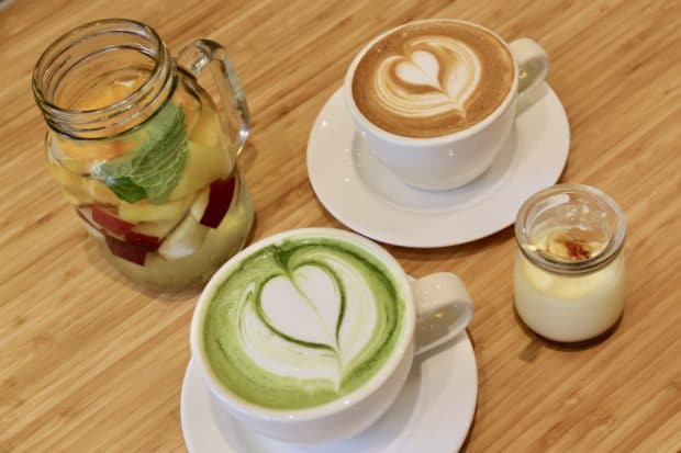 Latte's and Fuwa Fuwa fruit water.