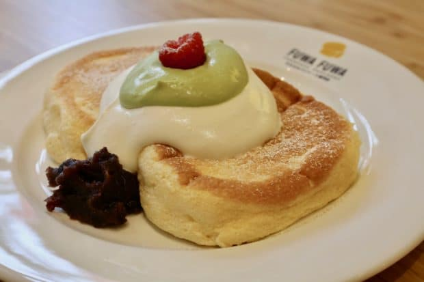 Pancake with Matcha Cream and Red Bean at Fuwa Fuwa.
