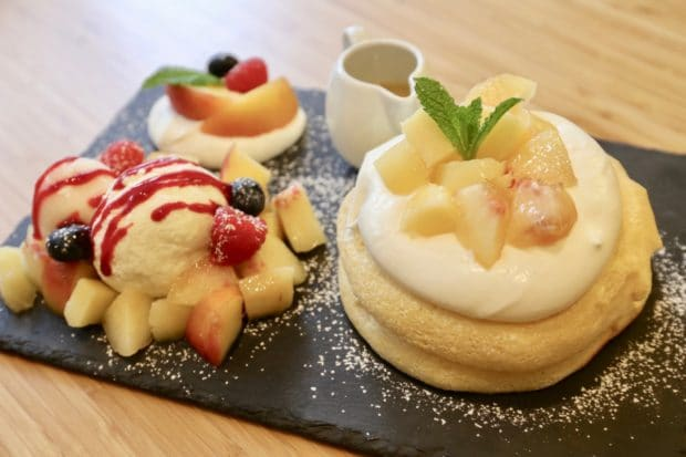 In the summer Fuwa Fuwa offers seasonal special such as this peach and berry pancake stack.