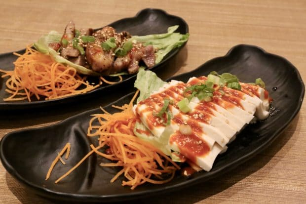 Korean Tofu Salad and Sweet Lemongrass Pork Loin at KaKa All You Can Eat Sushi Toronto.