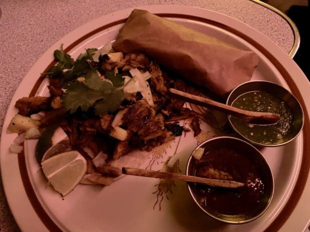 Seoul Shakers Trompo Tacos served with duo of salsa and warm tortilla.