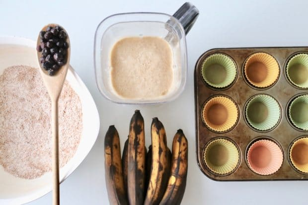 Preparing Blueberry Banana Muffins at home.