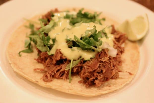 Campechano Toronto: Barbacoa Taco with braised lamb leg, guajillo, salsa jalapeno