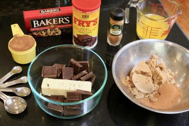 Preparing Cinnamon Babka and Chocolate Babka fillings.