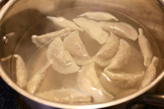 Boil homemade pierogies for just 2-3 minutes in salted water.