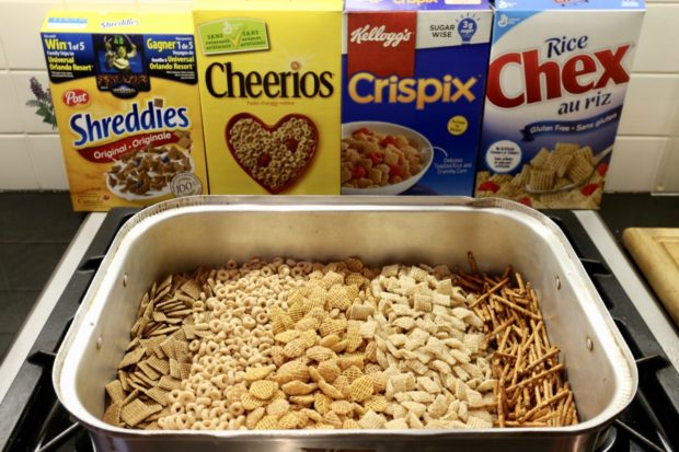 Shreddies, Cheerios, Crispix, Chex and Pretzels are the heart of every Nuts and Bolts Recipe.