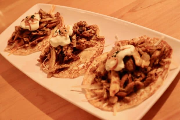 Pulled Chicken Kapitan Tacos are an excellent example on how Soos Toronto offers a twist to classic Malaysian dishes.