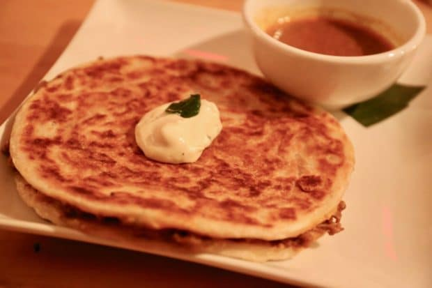 Soos Toronto's Murtabak is a stuffed roti served with mamak curry dip.