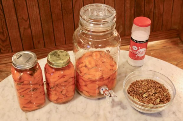 Raw carrots waiting for the fermentation process to begin.