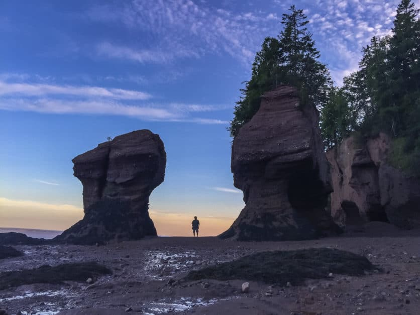 The Planet D suggest visiting New Brunswick's Hopewell Rocks on a Canadian road trip.