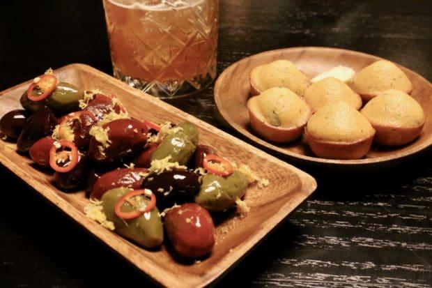 Cornbread and smoked olives at Bootleg Smokehouse Toronto.