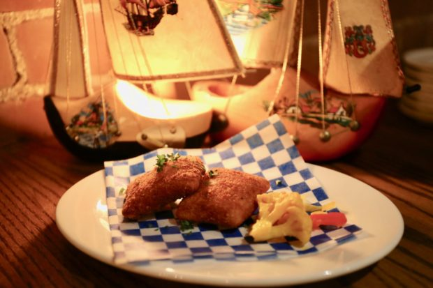 Kaassouffles: deep fried Dutch cheese with pickles at Borrel Restaurant.