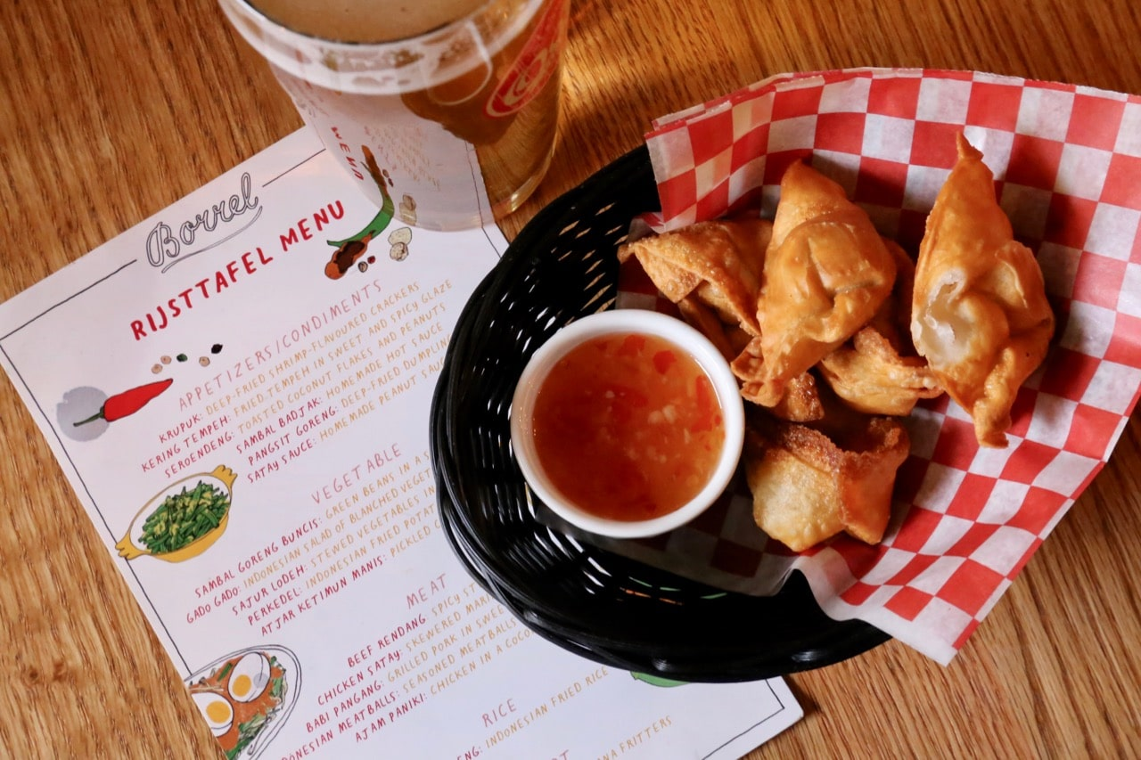 Indonesian Rijsttafel menu at Borrel restaurant in Toronto.
