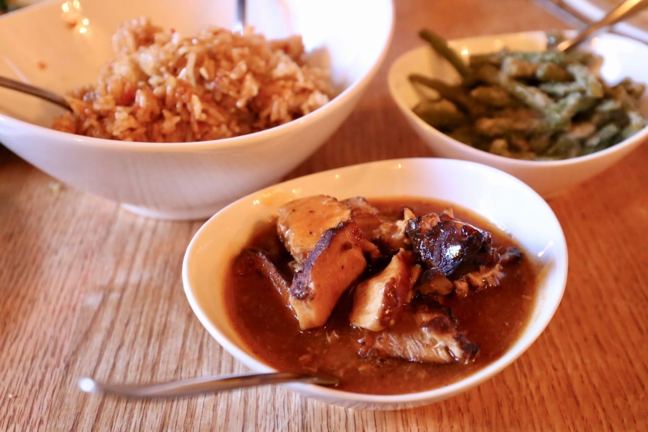 Spicy green beans, Indonesian fried rice and pork in sweet & sour sauce.