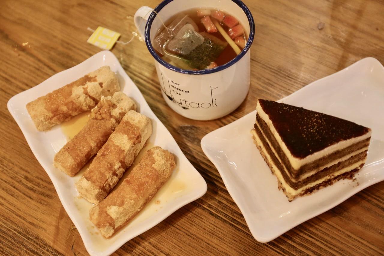 Brown Sugar Crispy Rice Cake and Tiramisu are popular desserts at Hutaoli Toronto.