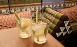 Lychee and kaffir lime leaf cocktail at Mengrai Thai.