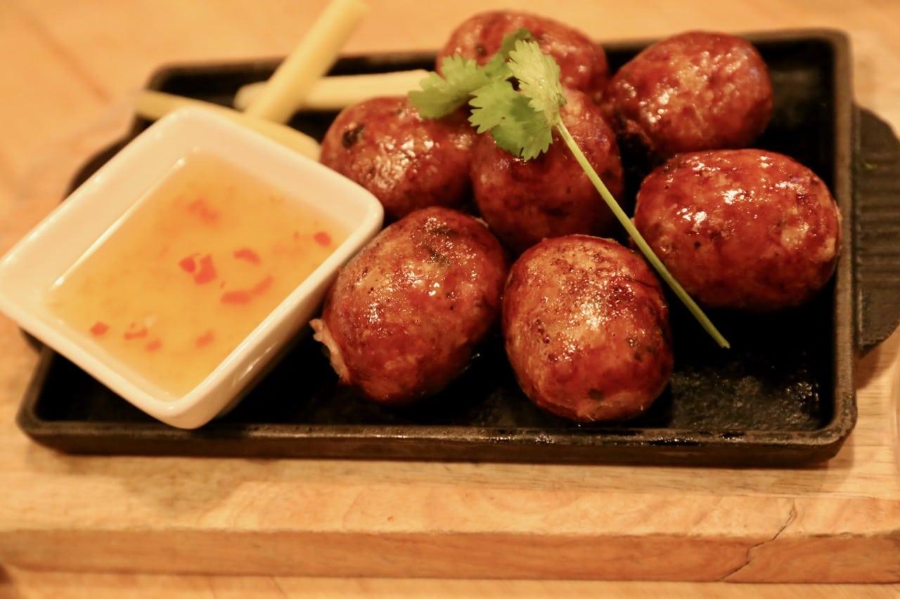 "Pork Belly Lao Sausage ""Sai Oua"" at Sabai Sabai Toronto."