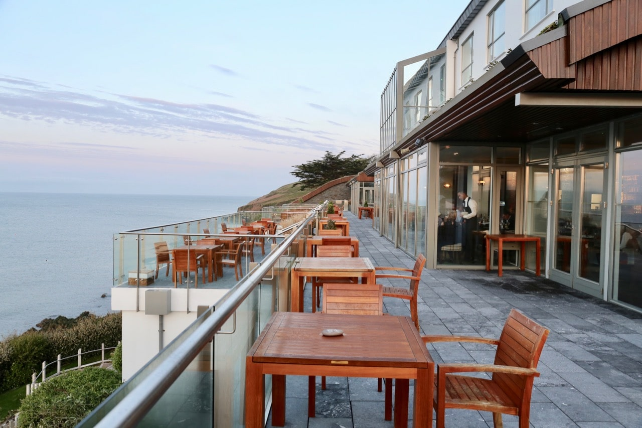 Sunset on the patio at Cliff House Ardmore.