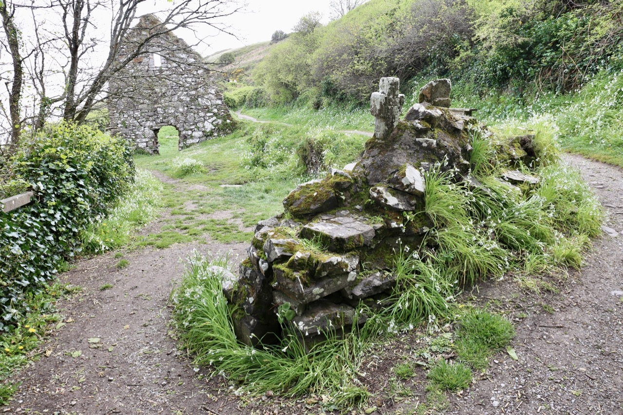 Ardmore Cliff Walk begins at the ruins of St. Declan's Well and Church.