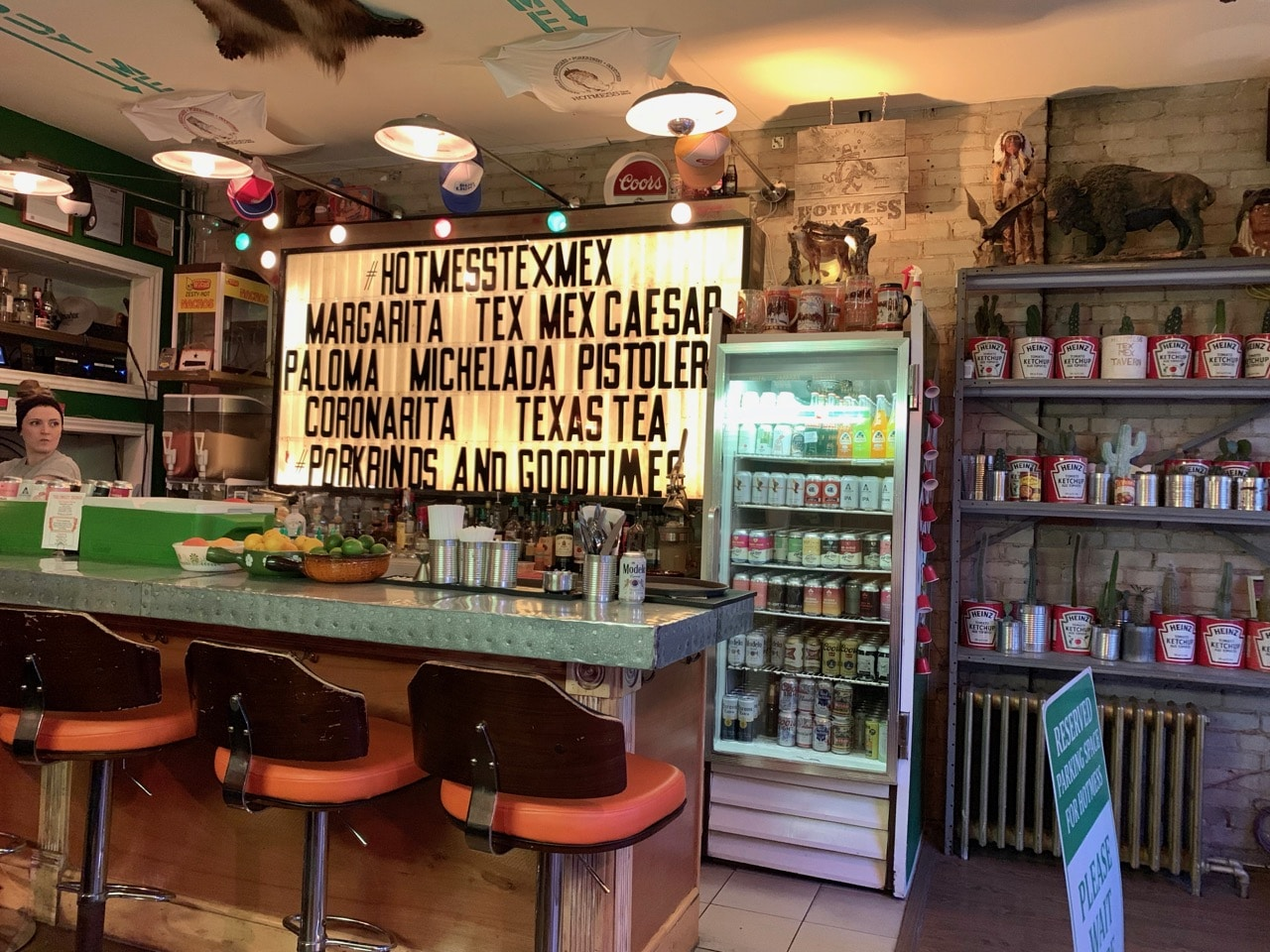 The bar at Hotmess Tex Mex on College Street.